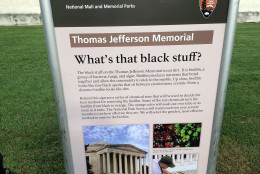 The National Park Service has posted this sign outside the Jefferson Memorial last August explaining to the public that a microbial substance is growing on the 73-year-old landmark, turning the marble black. (WTOP/Nick Iannelli)