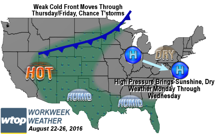 Workweek Weather Cool Start Slips Into A Bit More Heat WTOP - Us map number of days of sunshine