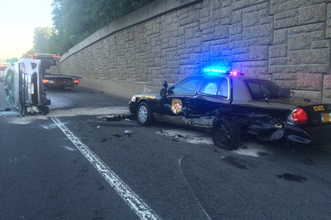 Car catches fire after crashing into Md. state police cruiser