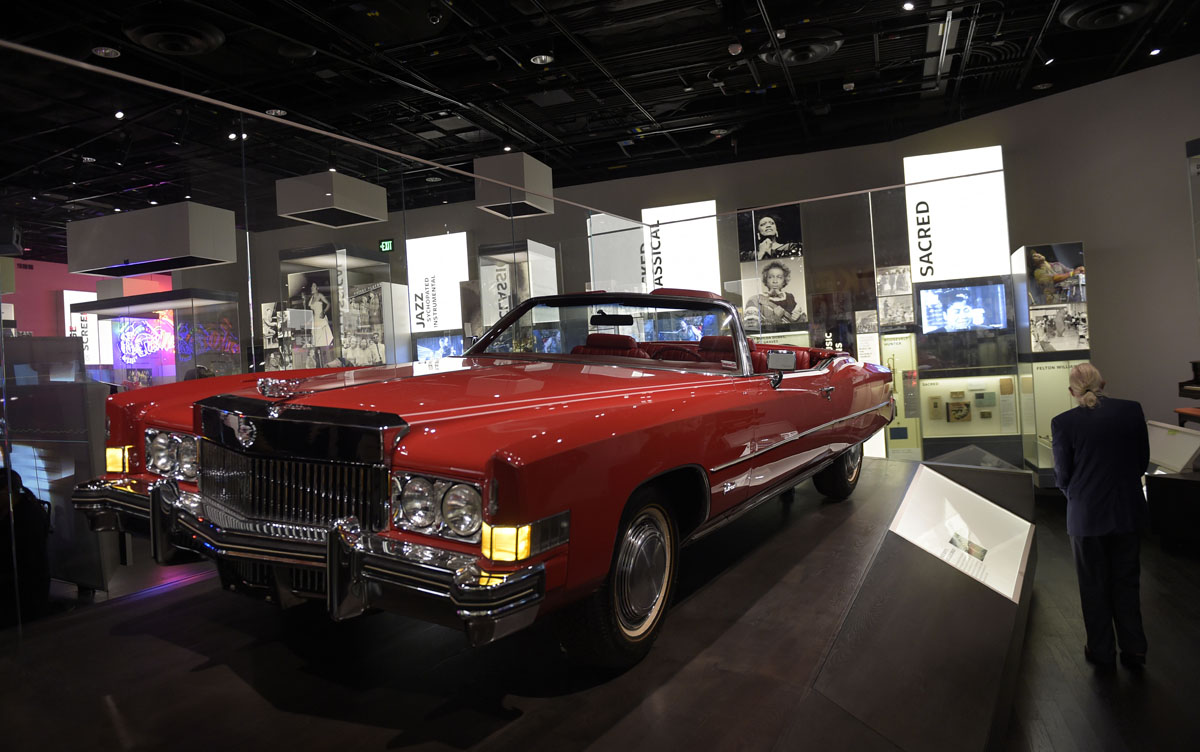 Chuck Berry's 1973 Cadillac Eldorado is on display at the National Museum of African American History and Culture in Washington, Wednesday, Sept. 14, 2016, during a press preview. (AP Photo/Susan Walsh)