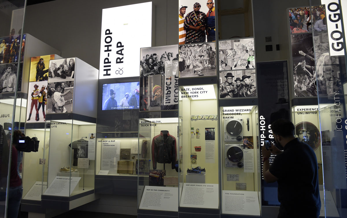 An exhibit on music is on display at the National Museum of African American History and Culture in Washington, Wednesday, Sept. 14, 2016, during a press preview. (AP Photo/Susan Walsh)