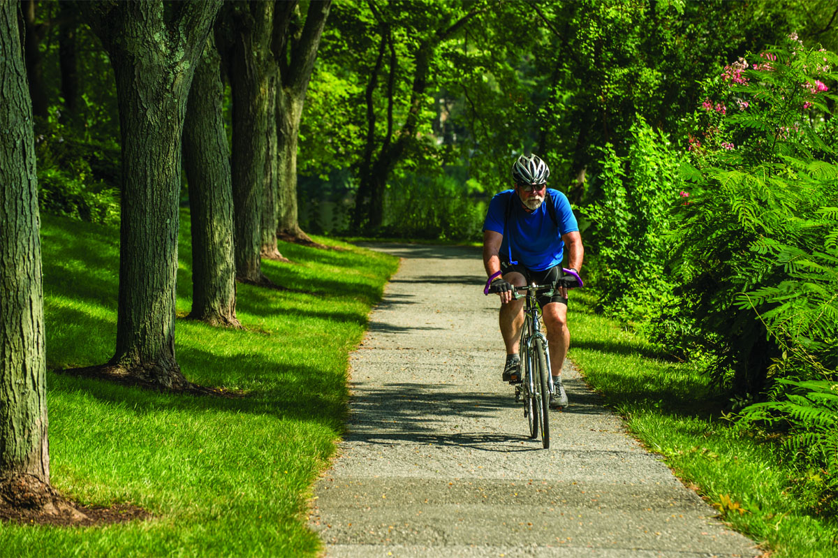 Columbia has more than 94 miles of paved pathways for people to walk, ride and bicycle. One of founder James Rouse's principles was for people to be close to nature. Columbia's pathway system brings walkers, runners and bicyclists through more than 3,600 acres of open space. (Courtesy Columbia Association)