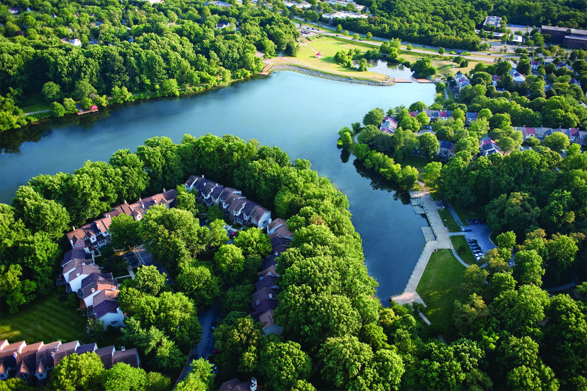Lake Elkhorn, one of three man-made lakes in Columbia, Maryland, is a picturesque place that is a favorite for people who want to walk, run, bicycle, picnic or relax. (Courtesy Columbia Association)