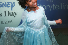 7. Frozen costumes. Trinitee Stokes celebrates Disney's 50 millionth book donation through First Book and the first annual Disney Reads Day with a special story time at the Disney Store on Saturday, Feb. 6, 2016, in Glendale, Calif. (Photo by Rich Fury/Invision for Disney/AP Images)