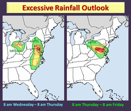 Heavy rain is possible from Wednesday through early Friday morning. (Courtesy National Weather Service)