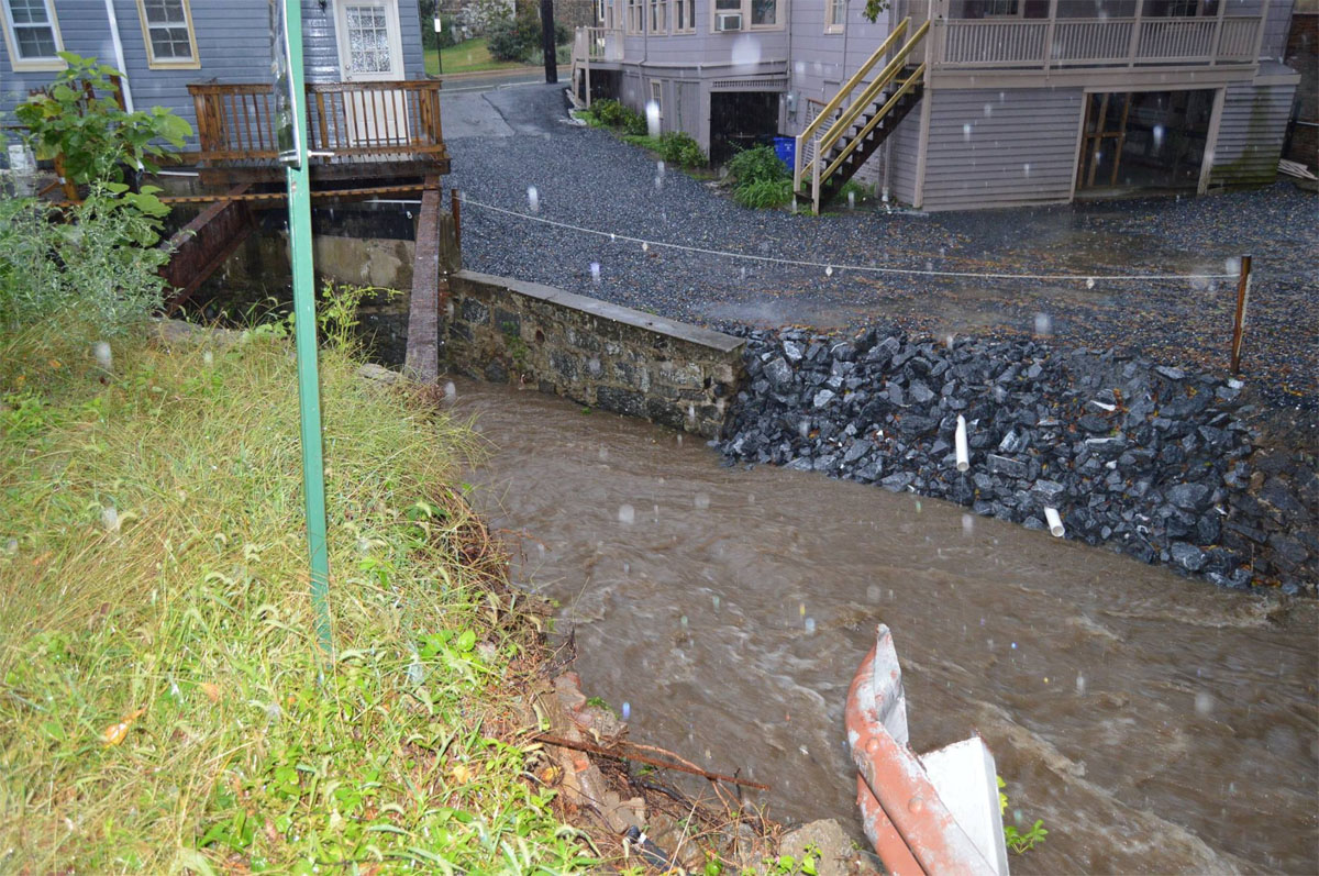 The Tiber River in Ellicott City where it flows under Court Avenue. (Courtesy Howard County Office of Emergency Management/Facebook)
