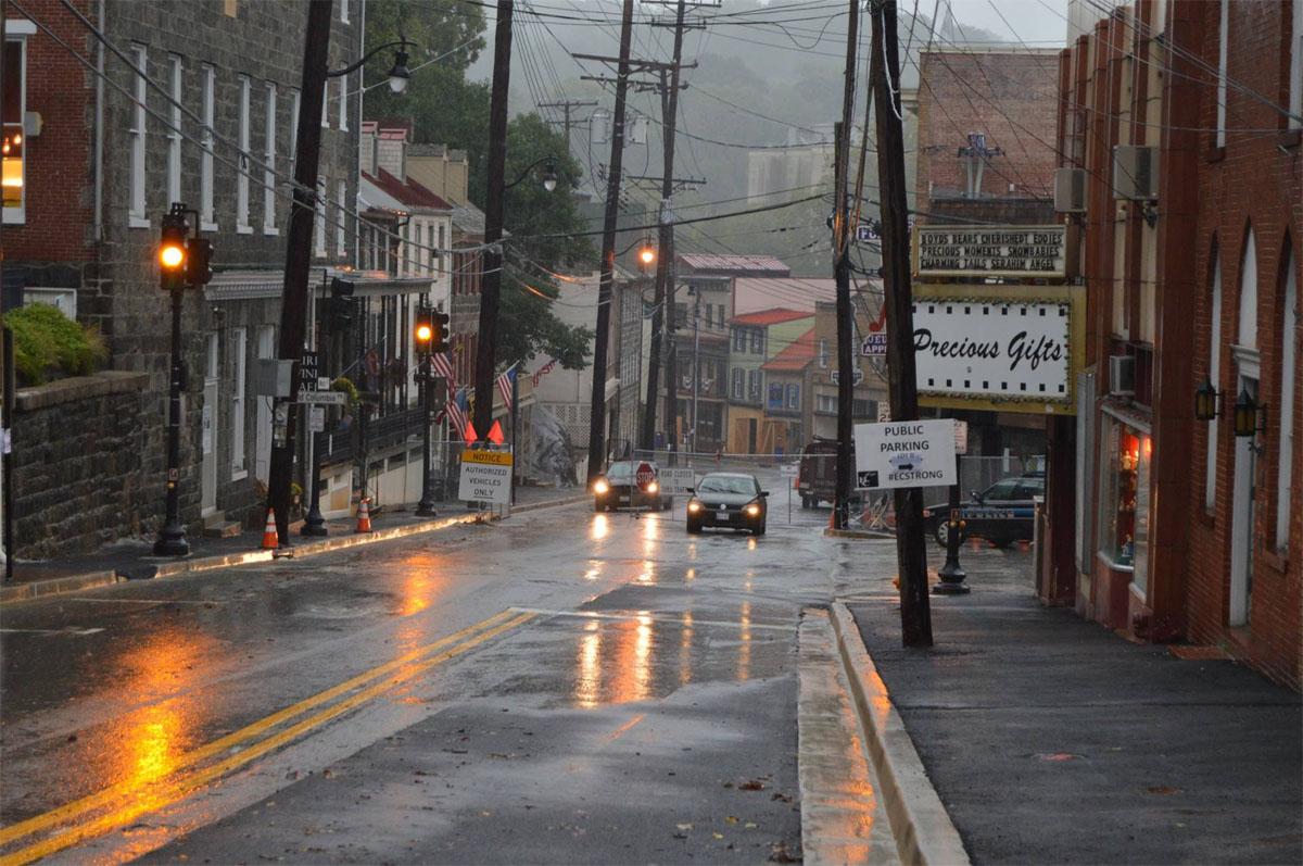 Ellicott City's Main Street under rainy skies Sept. 29. (Courtesy Howard County Office of Emergency Management/Facebook)