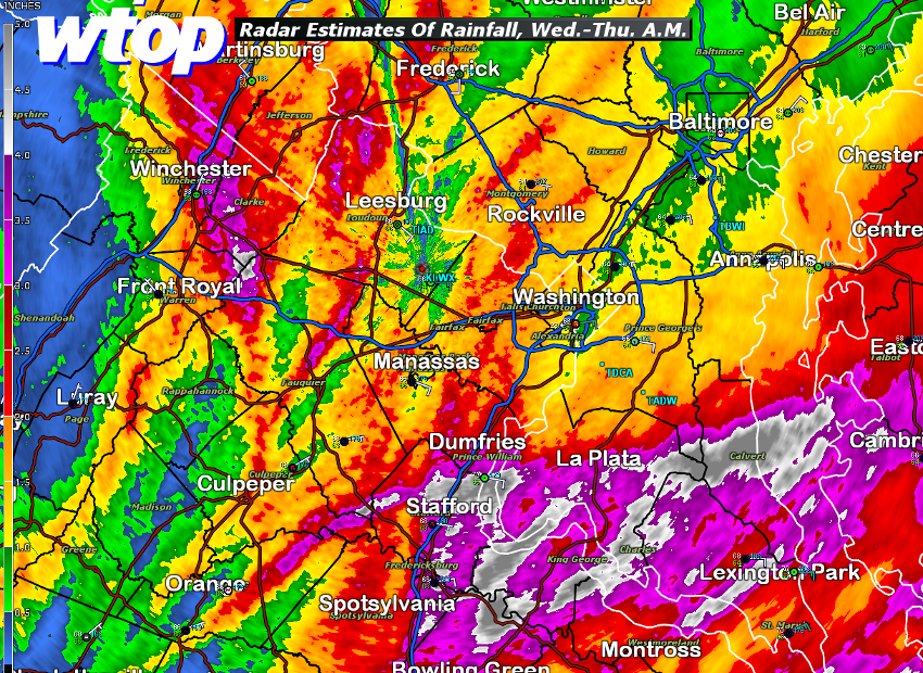 Here's a look at soaking heavy rainfall amounts in the past 48 hours. In Northern Virginia, most of it fell Wednesday night. In Southern Maryland, most of it was Wednesday and early Thursday morning. Another 1 inch to 3 inches of additional rainfall is possible throughout the area between Thursday morning and late Friday. (WTOP/Matt Ritter)