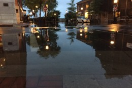 Floodwaters in Old Town Alexandria at about 7 a.m. Friday, Sept. 30, 2016. (WTOP/Dennis Foley)