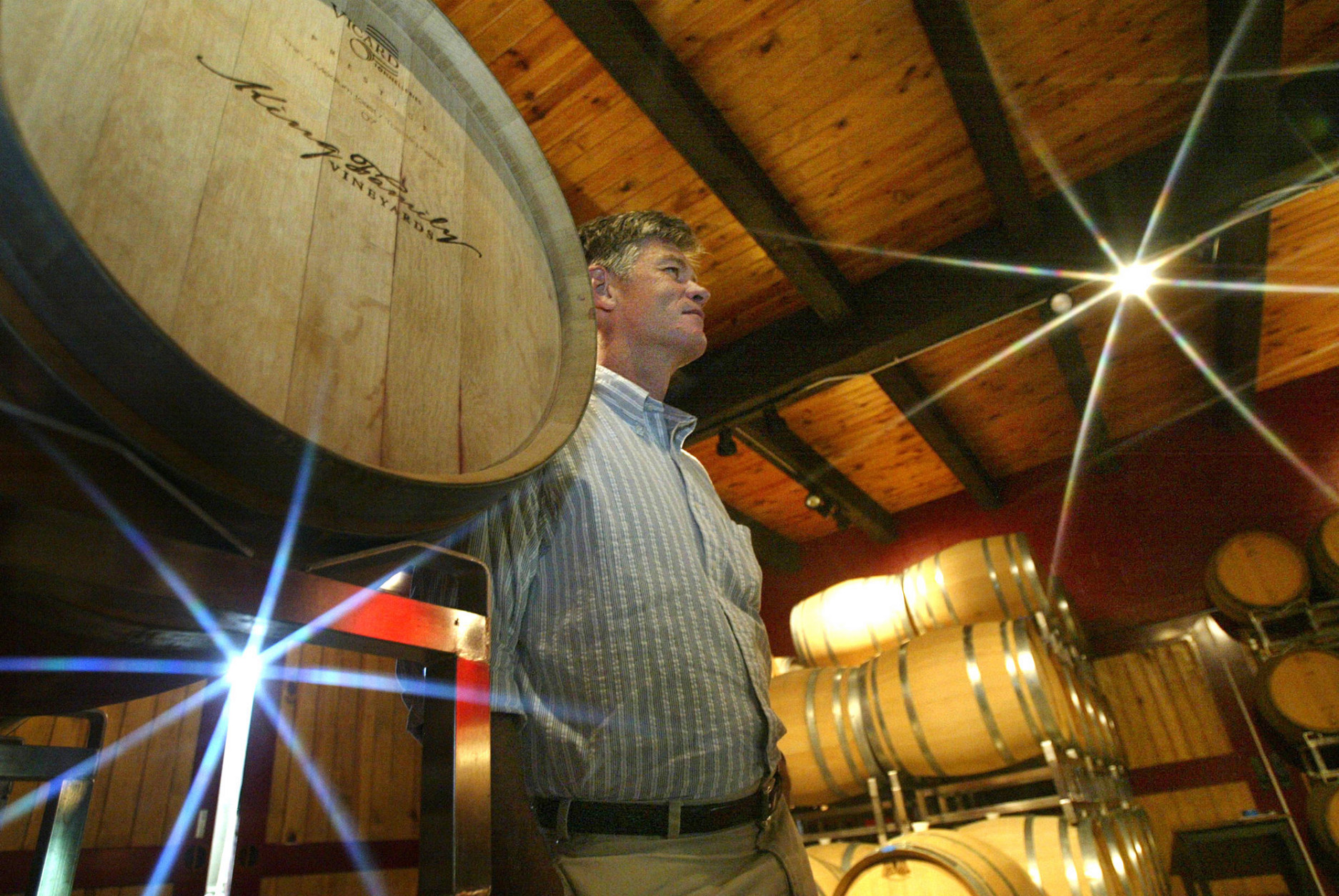 David King, owner of the King Family Vineyards and board chairman of the state-run Virginia Wine Distribution Co., is seen in his barrel room on Wednesday, May 7, 2008, in Crozet, Va. The nonprofit distribution company retains the three-tier system used by a majority of states following the repeal of Prohibition in 1933 that takes the wine from the winery to the wholesaler to the retailer. (AP Photo/Lisa Billings)