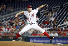 Washington Nationals starting pitcher Stephen Strasburg throws during the third inning of a baseball game against the Atlanta Braves at Nationals Park, Wednesday, Sept. 7, 2016, in Washington. (AP Photo/Alex Brandon)