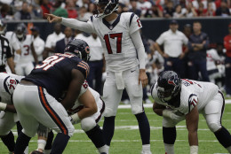 Houston Texans quarterback Brock Osweiler (17) is shown during the first half of an NFL football game Sunday, Sept. 11, 2016, in Houston. (AP Photo/David J. Phillip)