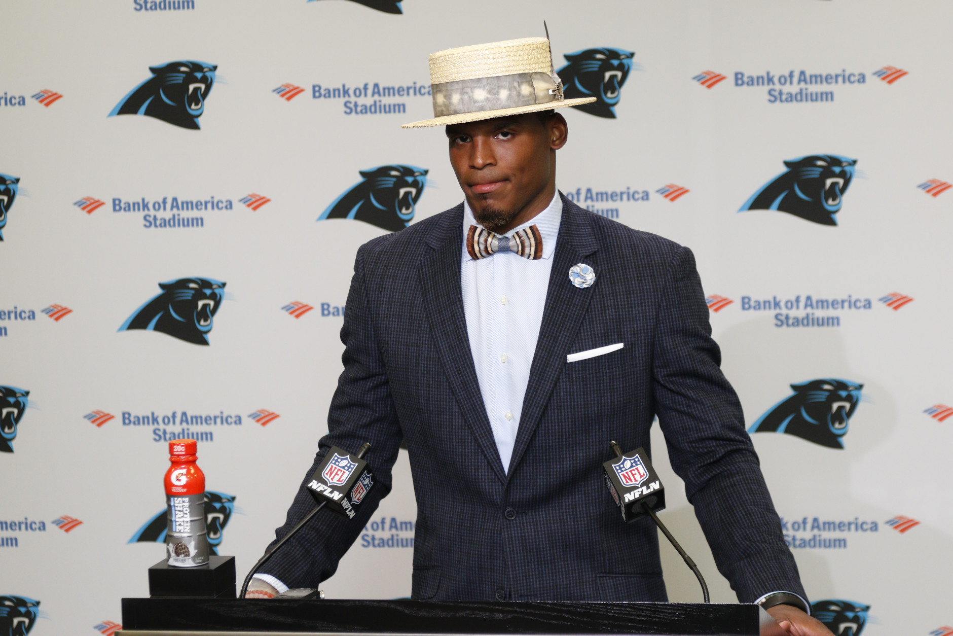 Carolina Panthers' Cam Newton talks to the media after an NFL football game against the San Francisco 49ers in Charlotte, N.C., Sunday, Sept. 18, 2016. The Panthers won 46-27. (AP Photo/Bob Leverone)