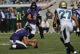 Baltimore Ravens kicker Justin Tucker (9) kicks the game winning field goal against the Jacksonville Jaguars during the second half of an NFL football game in Jacksonville, Fla., Sunday, Sept. 25, 2016. Baltimore won 19-17. (AP Photo/Phelan M. Ebenhack)