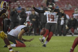 Tampa Bay Buccaneers kicker Roberto Aguayo (19) kicks a field goal against the Washington Redskins during the fourth quarter of an NFL preseason football game Wednesday, Aug. 31, 2016, in Tampa, Fla. (AP Photo/Phelan M. Ebenhack)