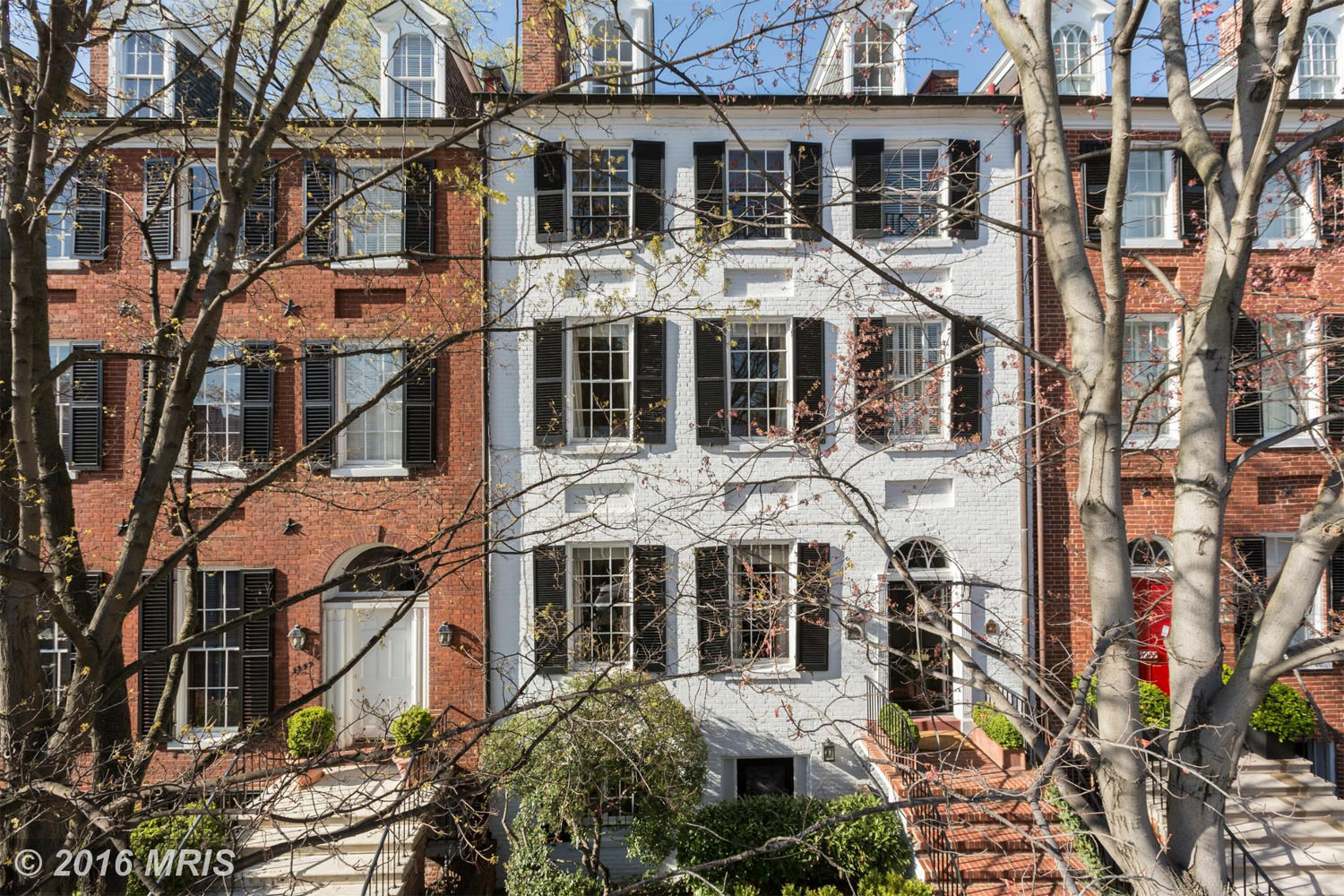 $4,925,000  3257 N St. NW Washington, D.C.   Located in Georgetown, this Federal-style row-house, sold for $4.9 million. The home, originally built in 1812, boasts six bedrooms and five bathrooms. (MRIS)