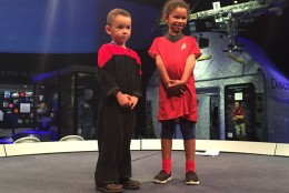 Even kids show Trekkie spirit at the National Air and Space Museum's 50th anniversary celebration of the Star Trek television series. (WTOP/Michelle Basch)