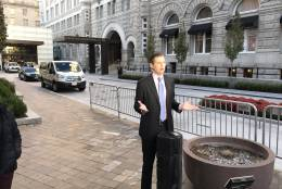 Eric Trump stumps for his father on TV at the Trump International Hotel, in D.C., on the morning of the grand opening, Oct. 26, 2016. (WTOP/Neal Augenstein)