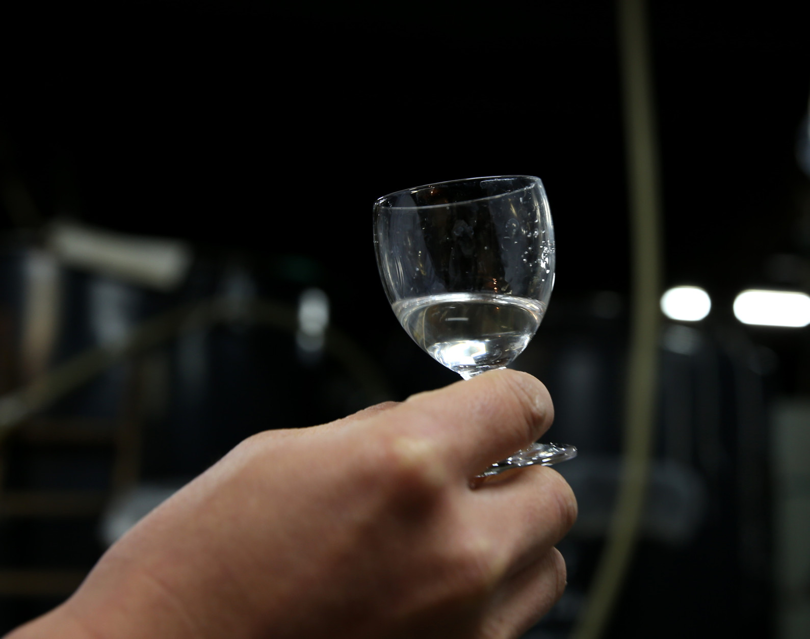 HIMEJI, JAPAN - JANUARY 22:  Japanese sake brewery worker holds up a glass of freshly made sake at Tanaka Sake Brewery on January 22, 2014 in Himeji, Japan. Japanese Prime Minister Shinzo Abe targets 60 billion yen by 2020, a fivefold increase in rice-based product exports including sake.  (Photo by Buddhika Weerasinghe/Getty Images)