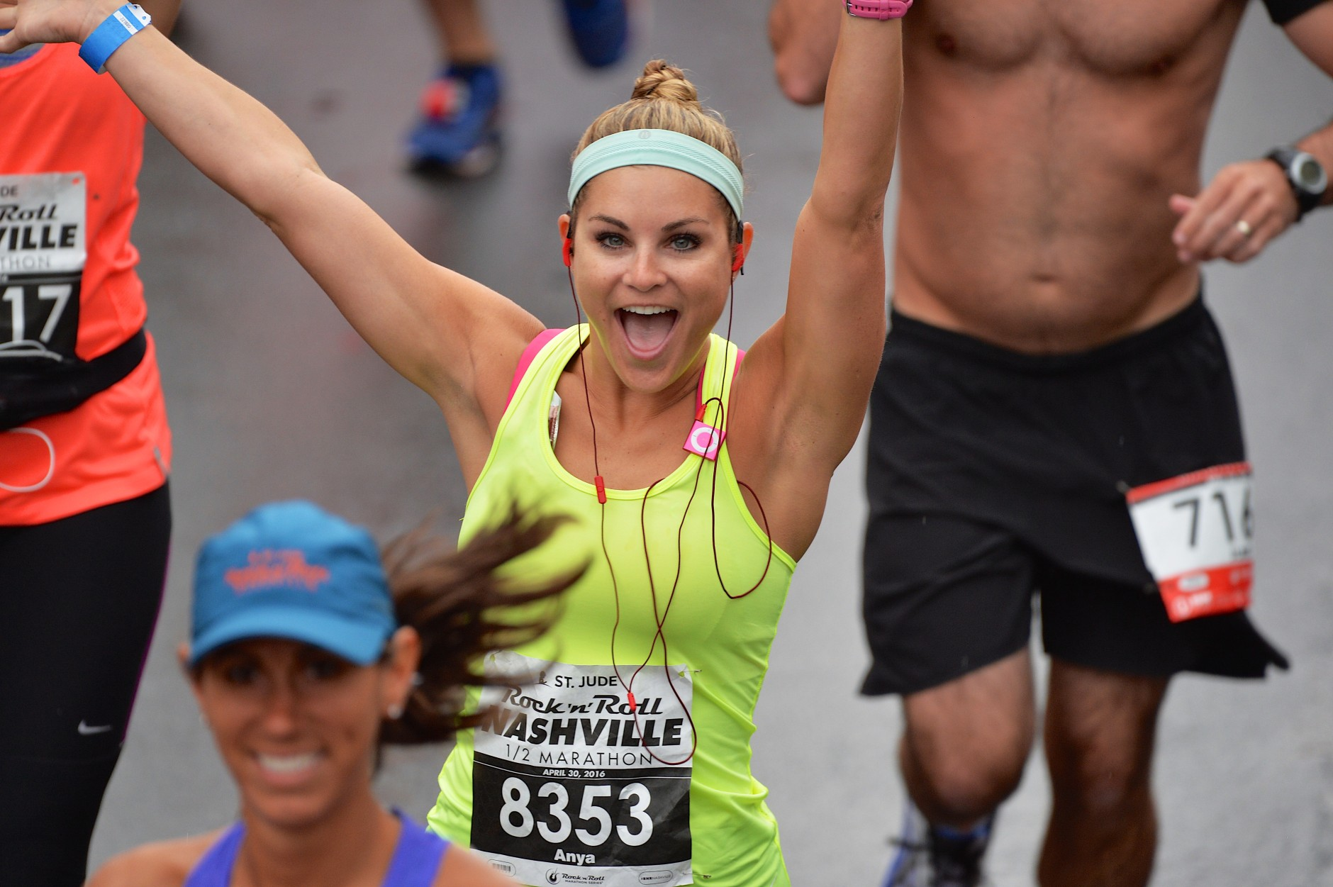 NASHVILLE, TN - APRIL 30:  Runner Anya Marmuscak crosses the start line at the St. Jude Rock 'n' Roll Nashville Marathon/Half Marathon and 5k where more than 34,000 participants weathered the rain during the 17th running on April 30, 2016 in Nashville, Tennessee.  (Photo by Jason Davis/Getty Images for St. Jude )