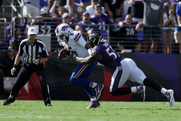 BALTIMORE, MD - SEPTEMBER 11: Outside linebacker Terrell Suggs #55 of the Baltimore Ravens sacks quarterback Tyrod Taylor #5 of the Buffalo Bills during the second half of the Buffalo Bills vs. the Baltimore Ravens game at M&T Bank Stadium on September 11, 2016 in Baltimore, Maryland. (Photo by Patrick Smith/Getty Images)