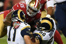 SANTA CLARA, CA - SEPTEMBER 12:  Ahmad Brooks #55 of the San Francisco 49ers sacks Case Keenum #17 of the Los Angeles Rams during their NFL game at Levi's Stadium on September 12, 2016 in Santa Clara, California.  (Photo by Thearon W. Henderson/Getty Images)