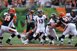 CINCINNATI, OH - SEPTEMBER 25:  Trevor Siemian #13 of the Denver Broncos throws a pass during the fourth quarter of the game against the Cincinnati Bengals at Paul Brown Stadium on September 25, 2016 in Cincinnati, Ohio. Denver defeated Cincinnati 29-17. (Photo by John Grieshop/Getty Images)