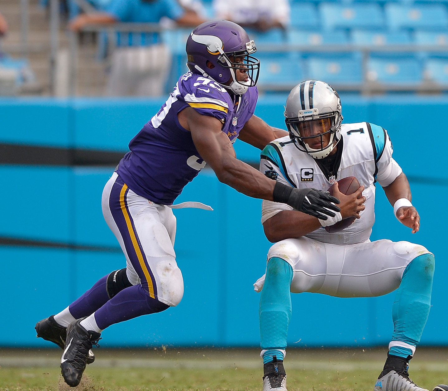 CHARLOTTE, NC - SEPTEMBER 25:  Danielle Hunter #99 of the Minnesota Vikings sacks Cam Newton #1 of the Carolina Panthers during the game at Bank of America Stadium on September 25, 2016 in Charlotte, North Carolina. The Vikings won 22-10.  (Photo by Grant Halverson/Getty Images)