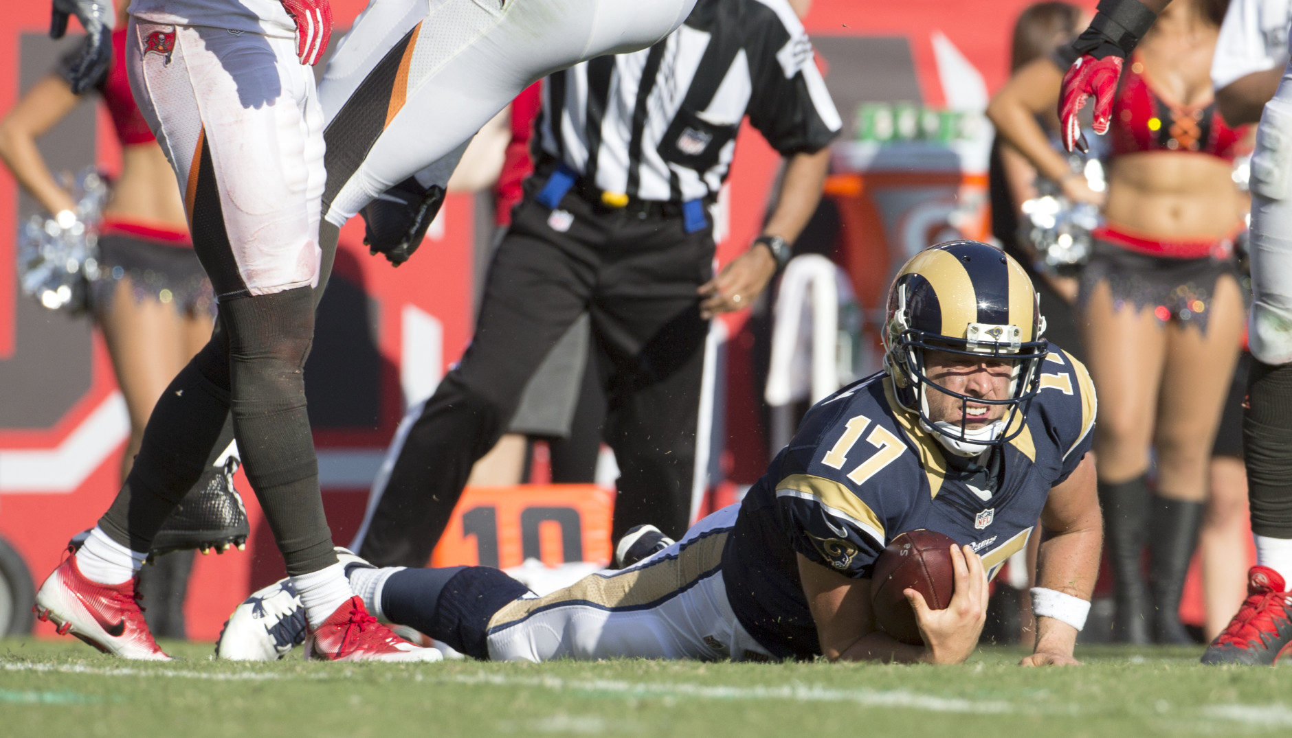 TAMPA, FL - SEPTEMBER 25:  Los Angeles Rams quarterback Case Keenum #17 looks to make sure he made a first down during the first half of their NFL football game against the Tampa Bay Buccaneers at Raymond James Stadium on September 25, 2016 in Tampa, Florida. The Rams defeated the Bucs 37-32.   (Photo by Mark Wallheiser/Getty Images)