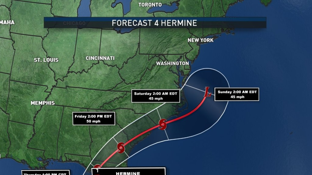 The latest track as of 5 a.m. Thursday has Hermine shifting to the east. (Courtesy of NBC Washington)