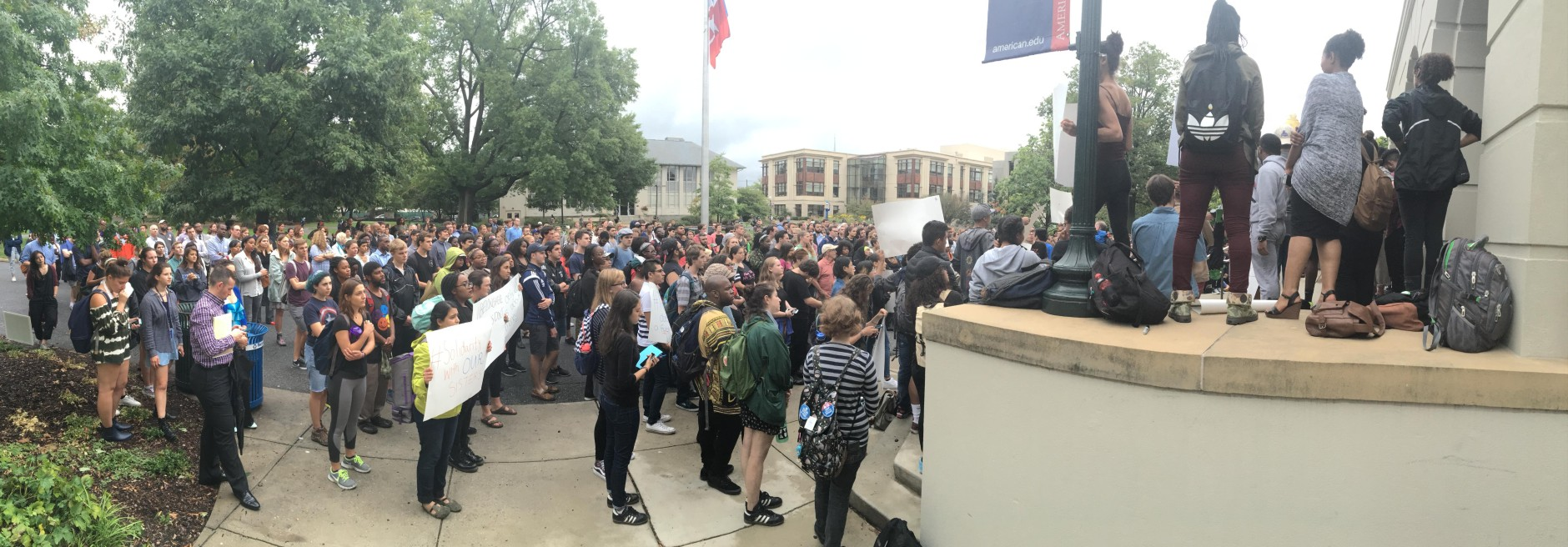 Students at American University attended the protest Monday. (WTOP/Max Smith)