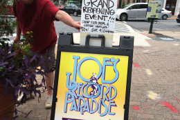 """""""It's an honest old time record store ... we go way, way back,"""" said Joe Lee, Johnson's dad and the original store owner. (WTOP/Dick Uliano)"""
