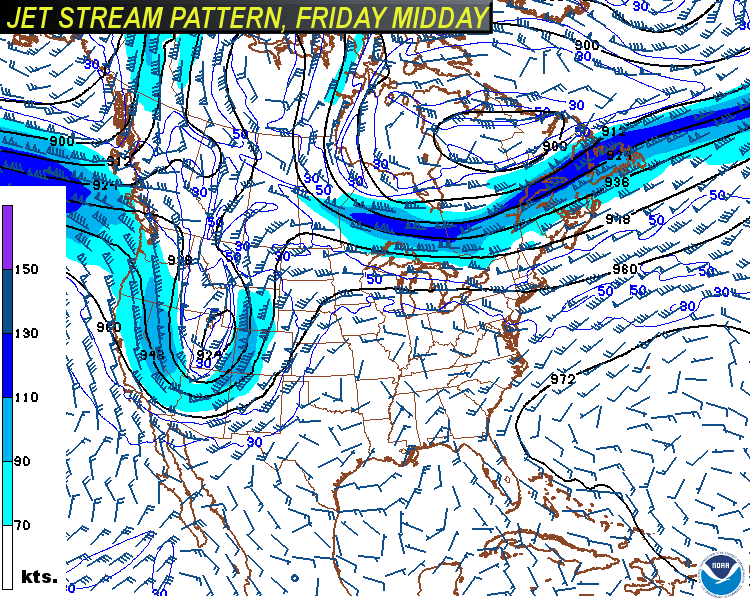"Why so warm? The weather pattern shown by the jet stream winds has a flat ridge of high pressure over most of the country in the beginning of the week, before a trough (dip) of low pressure digs in the northwest, pumping up the ridge in the east a little more. The cold air is trapped in Canada until the trough develops out west. In this type of pattern, we would be even warmer at the end of the week, as has been discussed in our recent longer range forecasts. But if the clouds and more showers develop because of more ""Julia"" remnants, which are trapped underneath the ridge, then we will not be as hot as we would otherwise be. These graphics were produced by the American GFS Model from Sunday morning's output. (Environmental Modeling Center/NOAA)"