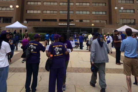 Community, staff rally outside Howard University Hospital