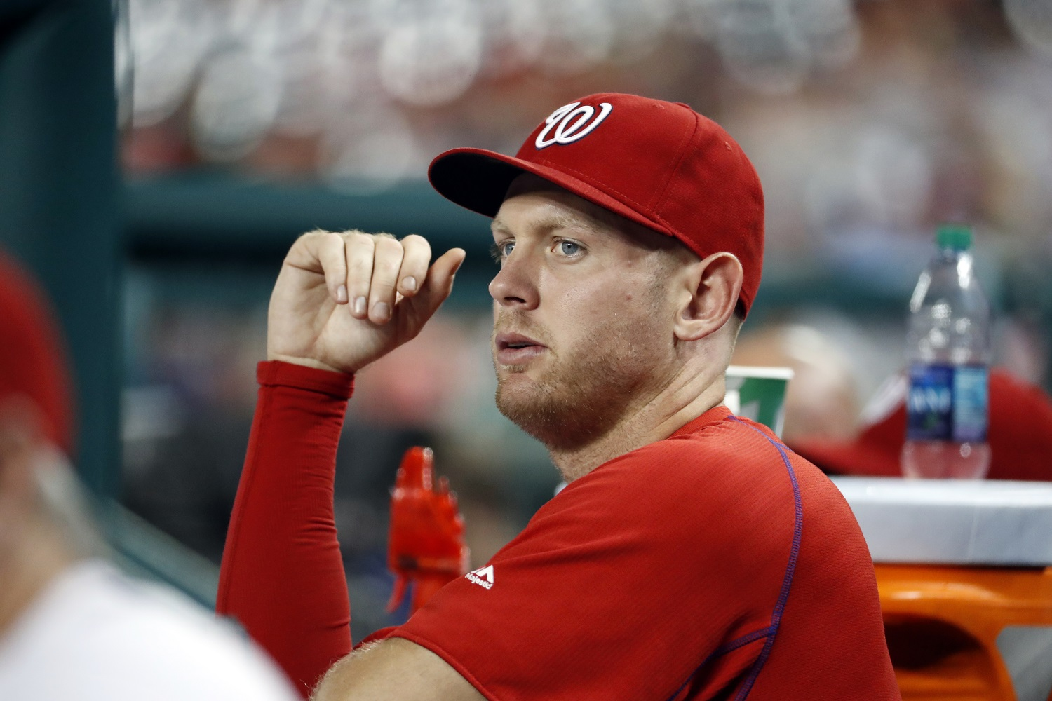 Washington Nationals starting pitcher Stephen Strasburg pauses in the dugout during a baseball game against the Philadelphia Phillies at Nationals Park, Thursday, Sept. 8, 2016, in Washington. Strasburg left Wednesday's game with an injury. The Phillies won 4-1. (AP Photo/Alex Brandon)