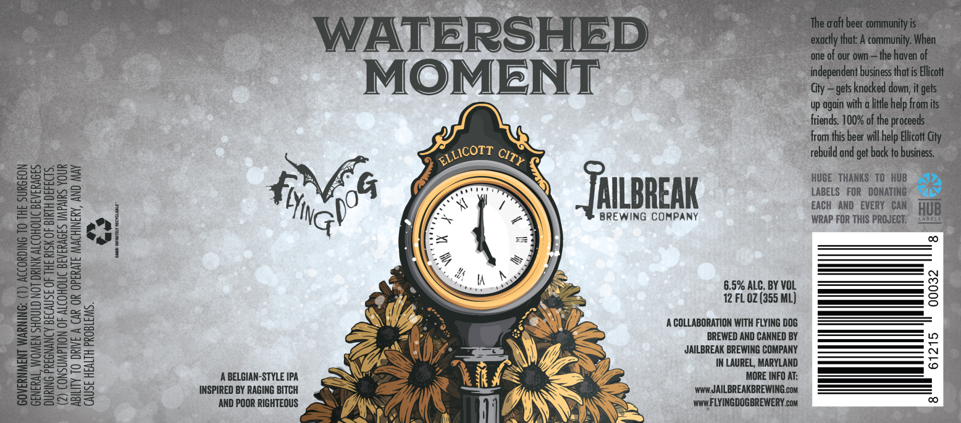 The two breweries say Watershed Moment is a hybrid of Jailbreak's Poor Righteous IPA and Flying Dog's Raging Bitch Belgian-Style IPA. (Courtesy Flying Dog Brewery)