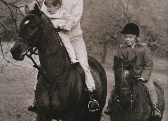 In this undated photo, Jackie Kennedy with her son John on Sadar and daughter Caroline on her pony Macaroni go for a ride in Middleburg where the first family spent many weekends. The current owners of the Kennedy's Northern Virginia home have put the house and surroudning property up for sale. (Courtesy of © Howard Allen Studios)