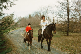 Jackie Kennedy with her son John on Sadar and daughter Caroline on her pony Macaroni go for a ride in Middleburg where the first family spent many weekends.The Kennedy's home near Middleburg, called Wexford Estate, is on the market. The asking price for the four-bedroom, single-story house is $5.9 million.  (Courtesy of ©  Howard Allen Studios)