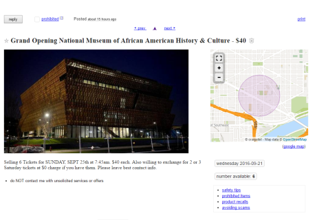 Tickets being scalped to Smithsonian museum's opening