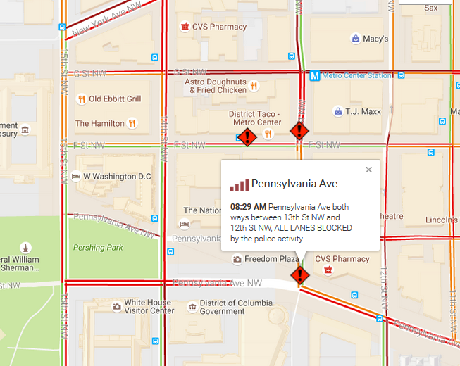A police investigation closed streets around the Warner Theatre Tuesday morning, creating gridlock in Downtown D.C. (WTOP)