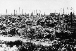 In this undated file photo, France's battle torn Marne district is seen during World War I. Weeks after World War I erupted, with the capital of Paris under threat from German invaders, French military chiefs devised a novel way for soldiers to travel to the front lines: by taxi. To that end, they requisitioned hundreds of cabs, and their drivers were charged with the risky mission of getting thousands of troops to the battlefield. (AP Photo, File)
