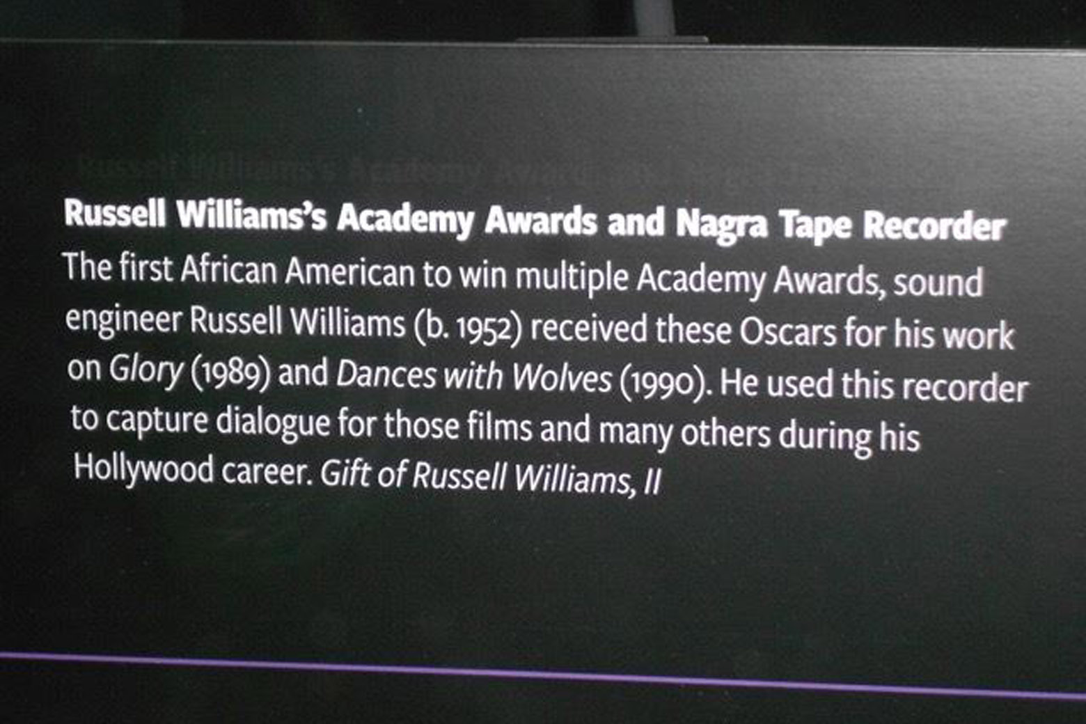 The plaque from the Smithsonian National Museum of African American History and Culture. (Courtesy Russell Williams via Mark M Harris)