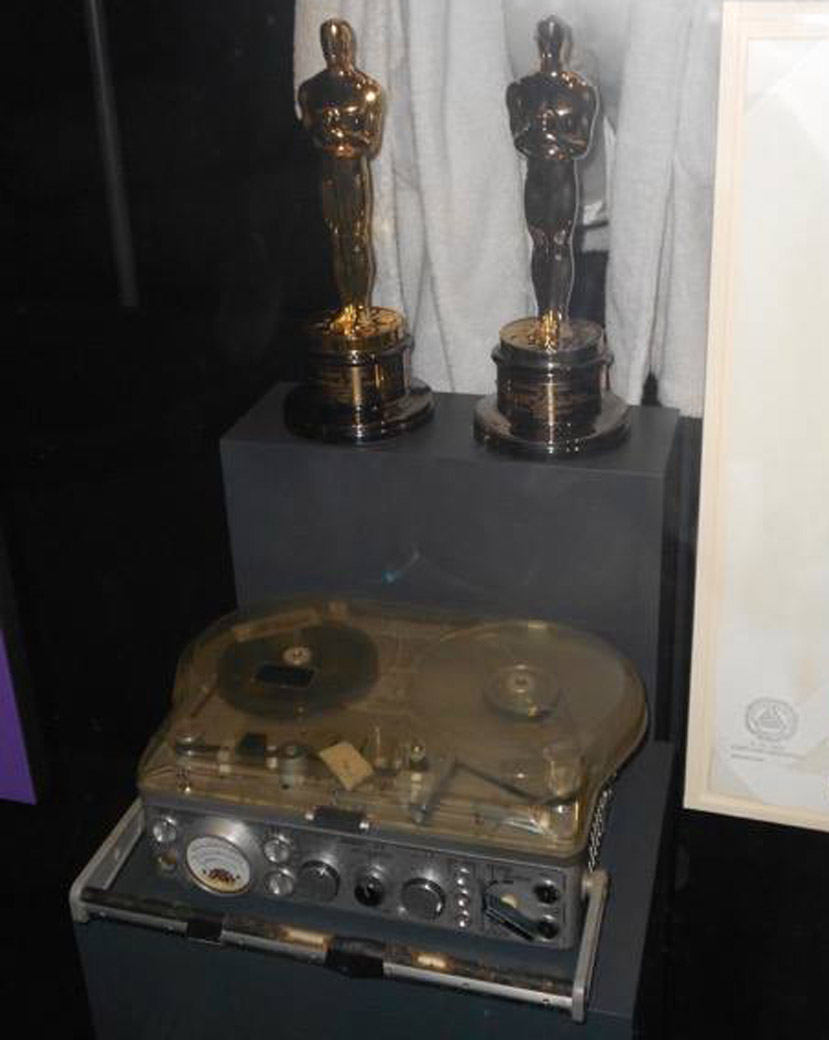 This exhibit shows Russell's two Oscars and Nagra recorder at the National Museum of African American History & Culture. (Courtesy Russell Williams via Mark M Harris)