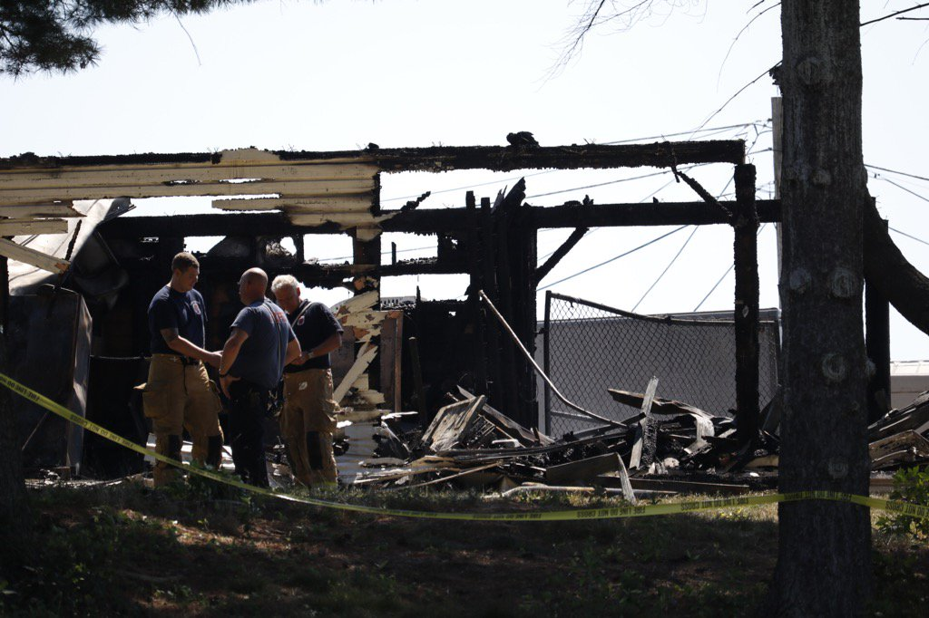 The scene of the fire at the USDA facility in Beltsville Tuesday. (WTOP/Kate Ryan)