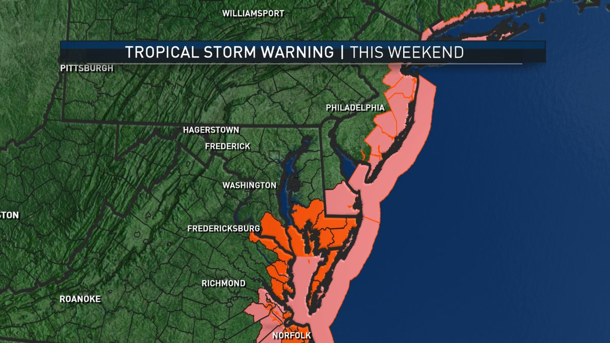 Tropical storm warnings (red) and tropical storm watches (pink) extend up the east coast. (NBC Washington)