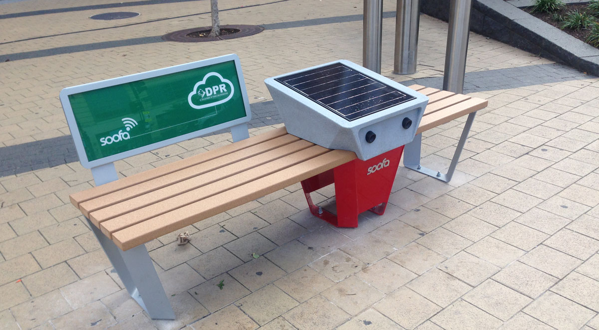 These solar powered dc benches provide free wi fi and can charge your phone wtop - Phone charging furniture the future in your home ...