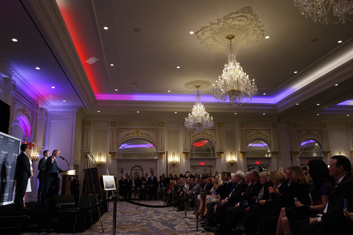 Republican presidential candidate Donald Trump speaks during the grand opening of the Trump International Hotel- Old Post Office, Wednesday, Oct. 26, 2016, in Washington. (AP Photo/ Evan Vucci)