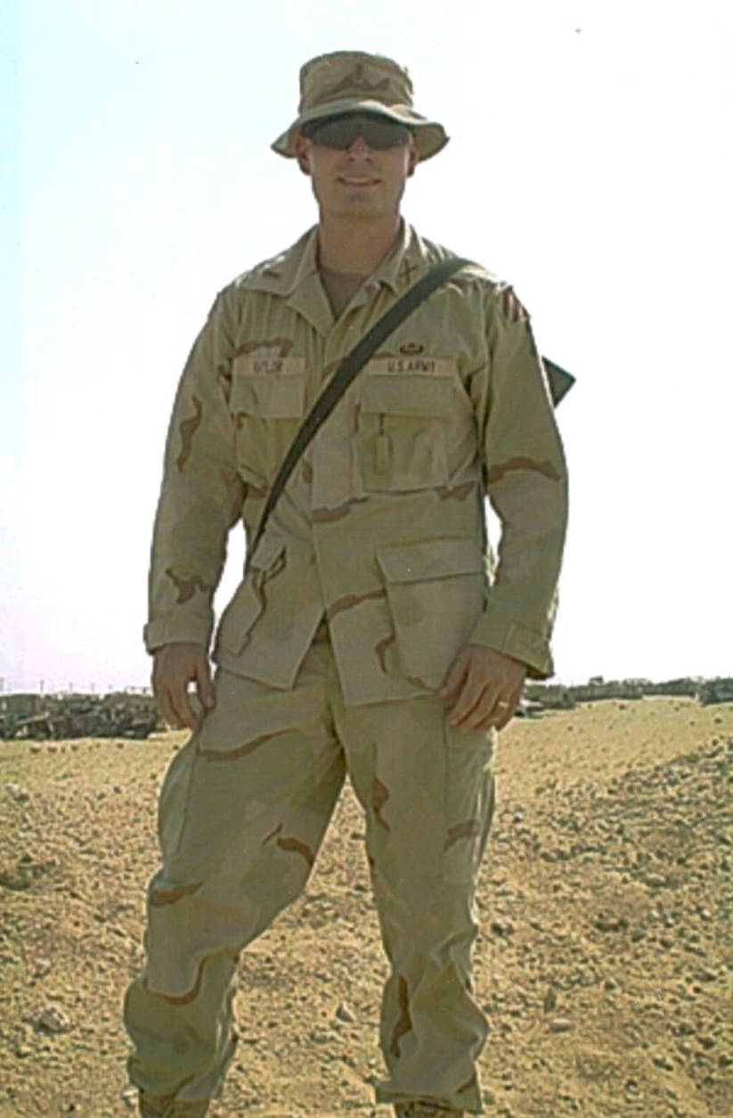 In 2002, Army First Lieutenant Jeff Kaylor was deployed to Kuwait, and then a few months later, to Baghdad. It was the beginning of Operation Iraqi Freedom. (Courtesy Roxanne Kaylor)