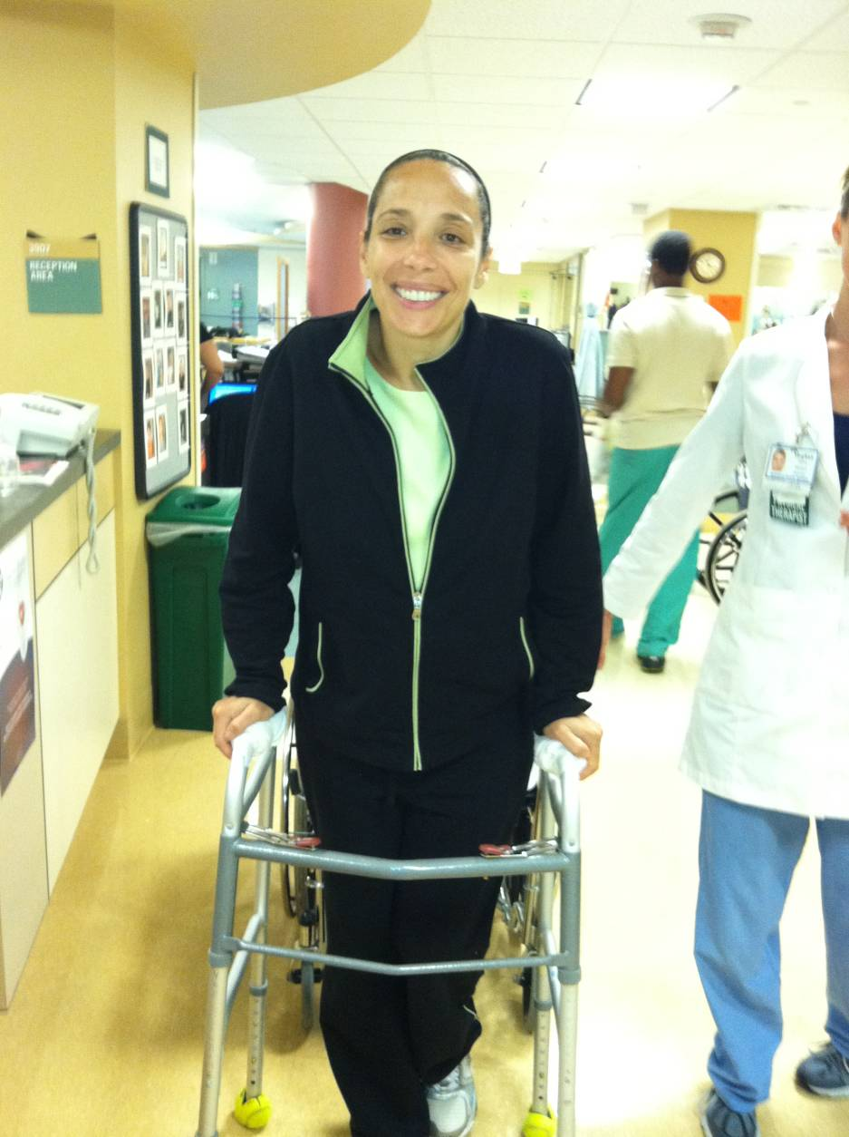 "Fortunately, her spine was not damaged.  ""My break was about a tenth of an inch from my spinal cord. I wasn't paralyzed. My injuries could have been so much worse. To this day, I really don't know how I survived,"" she said. ""The fact that I lived is incredible. The fact that I wasn't paralyzed is a miracle."" (Courtesy Lori Falcone)"