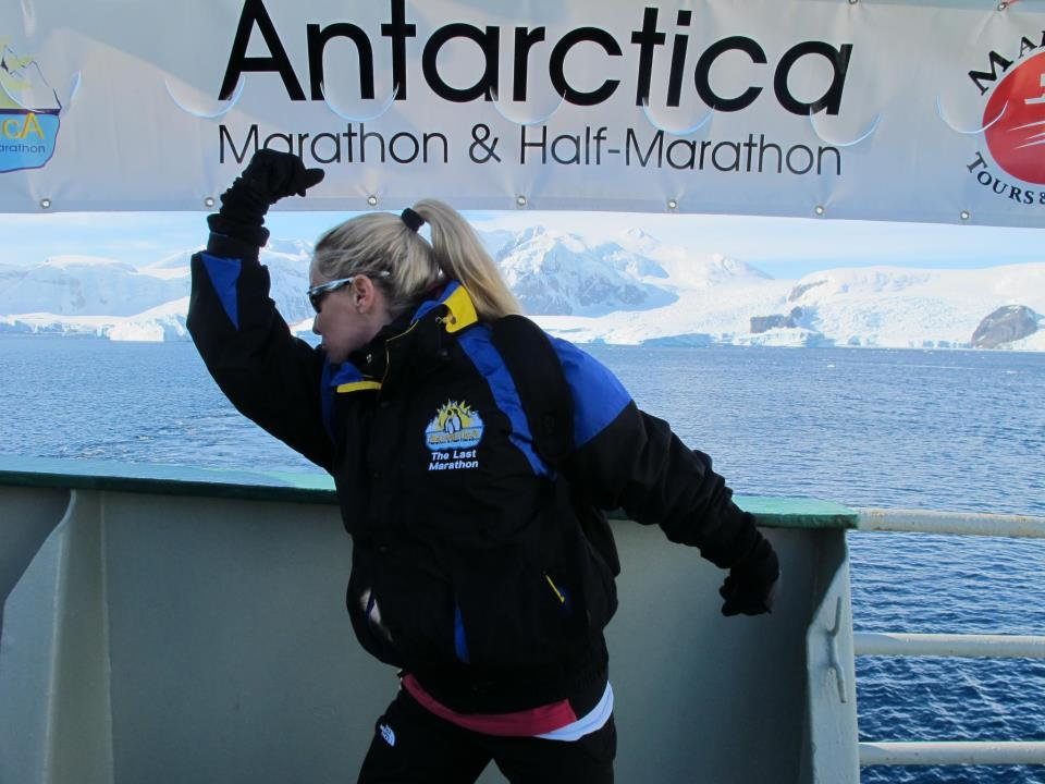 "Brooke Sydnor Curran pledged to run in all seven continents and all 50 states to raise money and awareness for RunningBrooke, including a race in Antarctica in March 2012 in which she was the first female to finish. ""Antarctica was ridiculous, in a terrific way. That was 40 mile-per-hour sustained winds and sleet. We were running in mud,"" she recalls. ""It was an incredible triple-out-and-back race among the Russian, Chinese and Chilean research bases."" (Courtesy Brooke Sydnor Curran)"